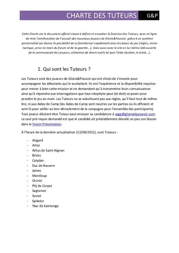 CHARTE DES TUTEURS                                            G&PCette Charte est le document officiel visant à définir et...