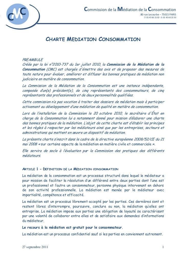 Charte mediation consommation