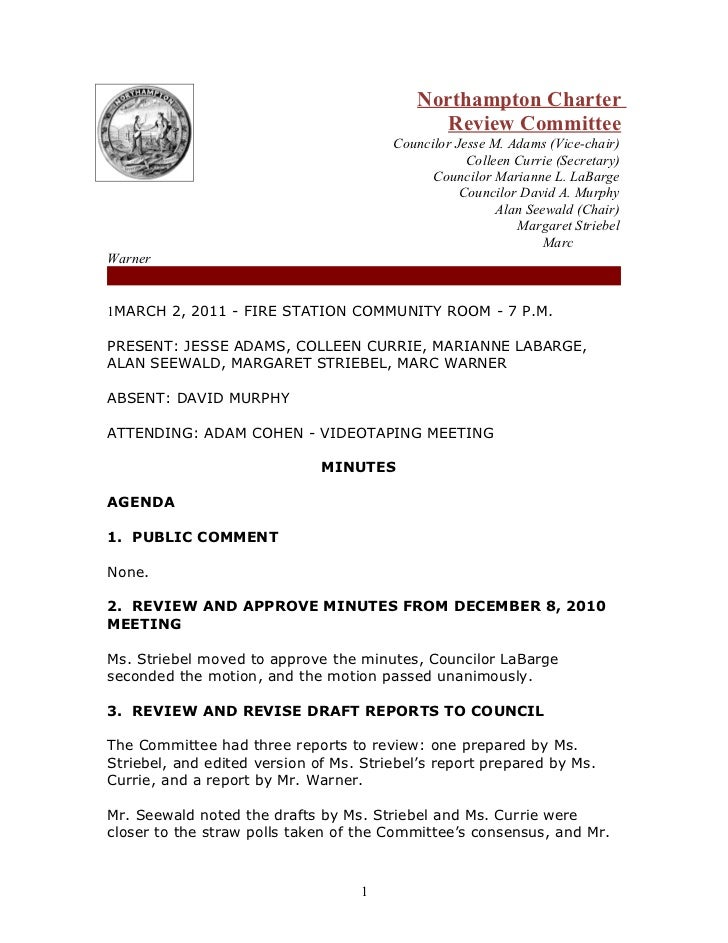 Northampton Charter                                              Review Committee                                        C...