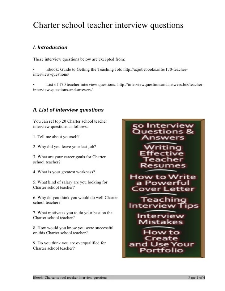 Charter school teacher interview questionsI. IntroductionThese interview questions below are excepted from:•       Ebook: ...