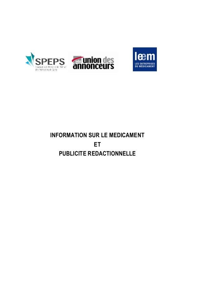 INFORMATION SUR LE MEDICAMENT ET PUBLICITE REDACTIONNELLE