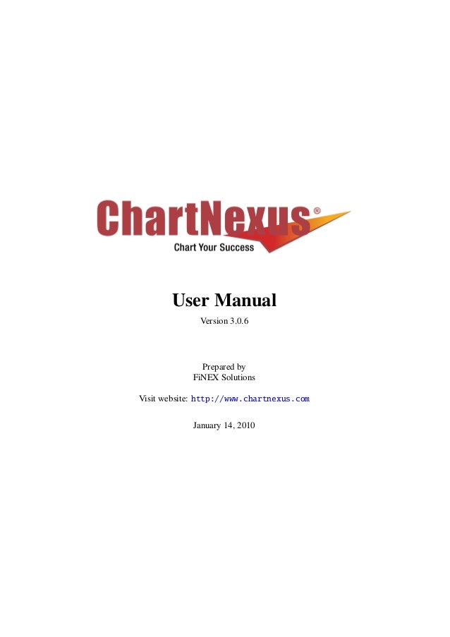 User Manual Version 3.0.6 Prepared by FiNEX Solutions Visit website: http://www.chartnexus.com January 14, 2010