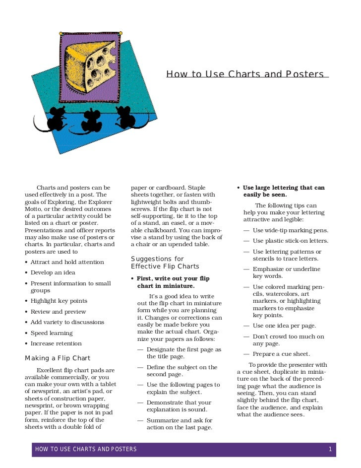 How to Use Charts and Posters     Charts and posters can be      paper or cardboard. Staple           • Use large letterin...