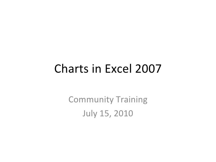 Charts in Excel 2007 Community Training July 15, 2010