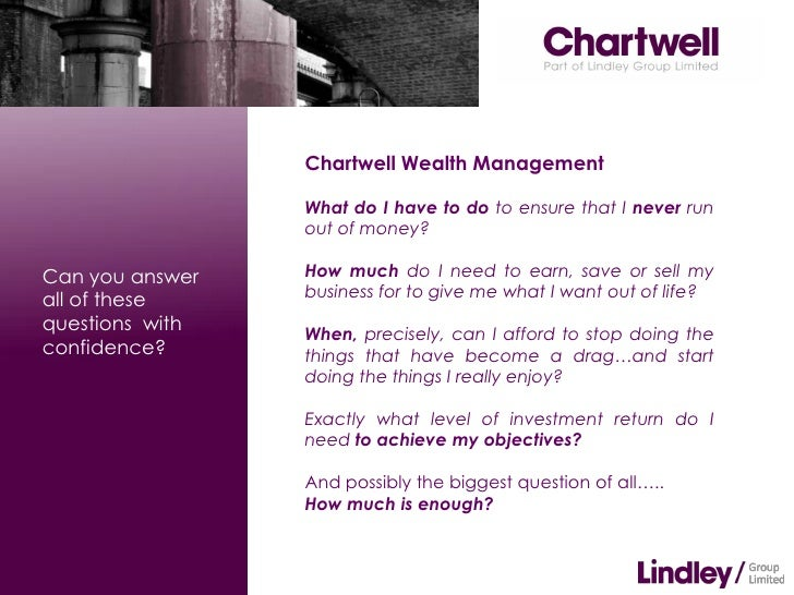 Chartwell Wealth Management                 What do I have to do to ensure that I never run                 out of money?C...