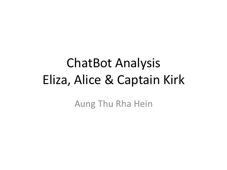 ChatBot AnalysisEliza, Alice & Captain Kirk      Aung Thu Rha Hein