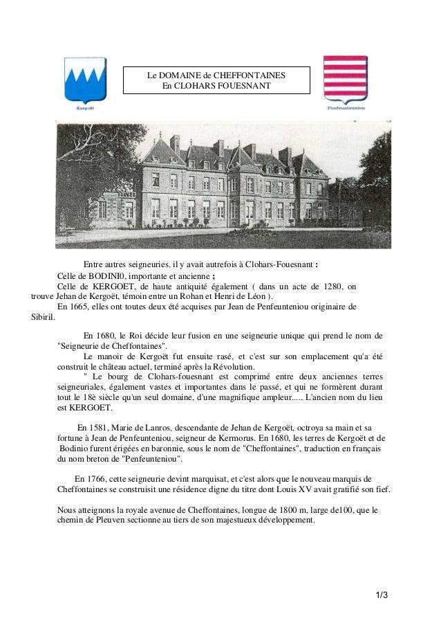 Le DOMAINE de CHEFFONTAINES En CLOHARS FOUESNANT  Entre autres seigneuries, il y avait autrefois à Clohars-Fouesnant : Cel...
