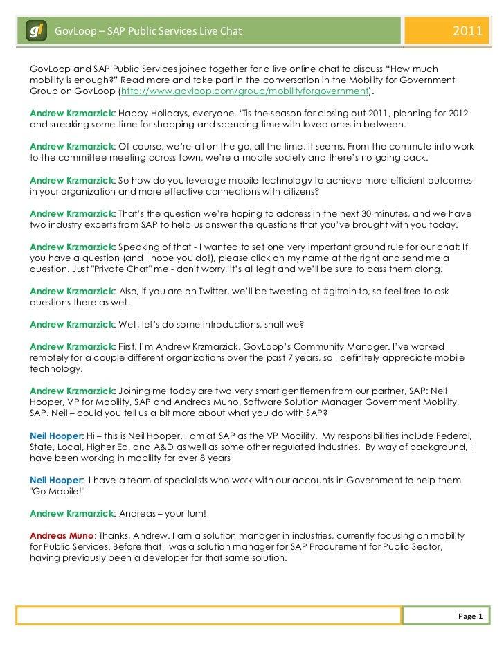 GovLoop – SAP Public Services Live Chat                                                           2011GovLoop and SAP Publ...