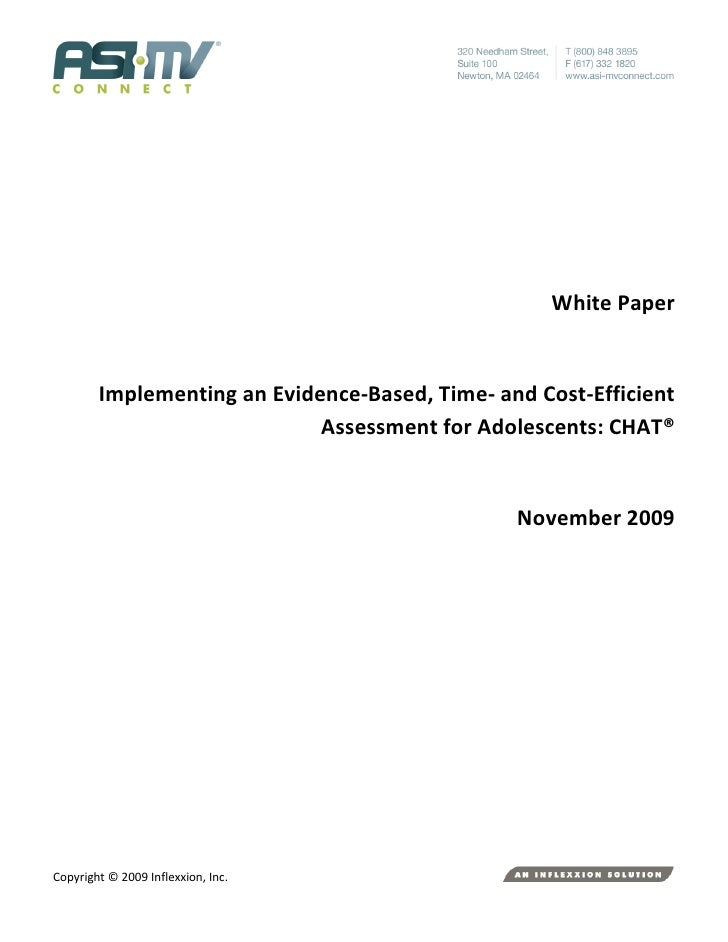 White Paper           Implementing an Evidence-Based, Time- and Cost-Efficient                              Assessment for...