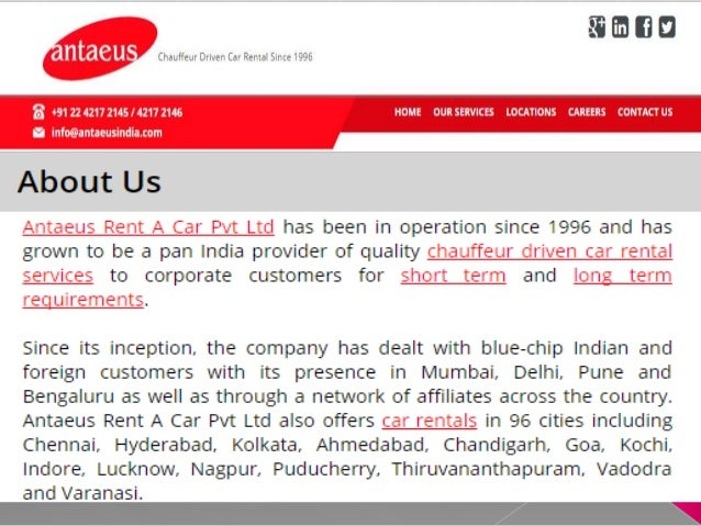 Luxury Car Rental Mumbai | Antaeus Rent A Car Pvt Ltd