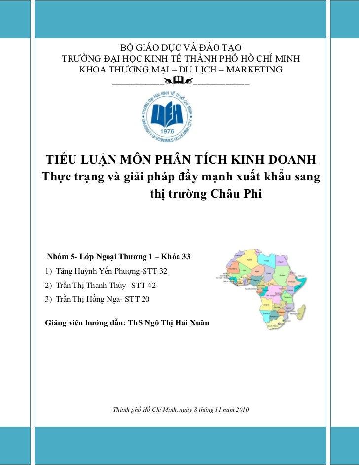 Thực trạng và giải pháp đẩy mạnh xuất khẩu sang thị trường Châu Phi