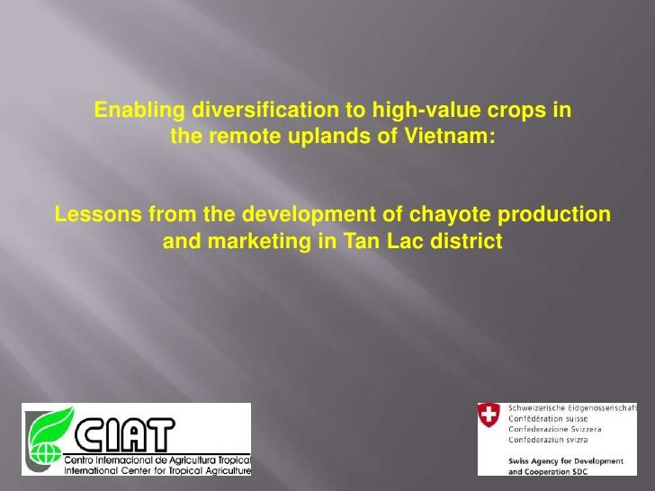 Enabling diversification to high-value crops inthe remote uplands of Vietnam:Lessons from the development of chayote produ...