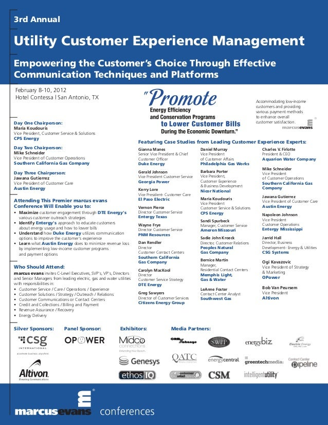 3rd Annual Utility Customer Experience Management for Utilities Final Agenda