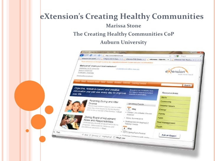 eXtension's Creating Healthy Communities                   Marissa Stone        The Creating Healthy Communities CoP      ...