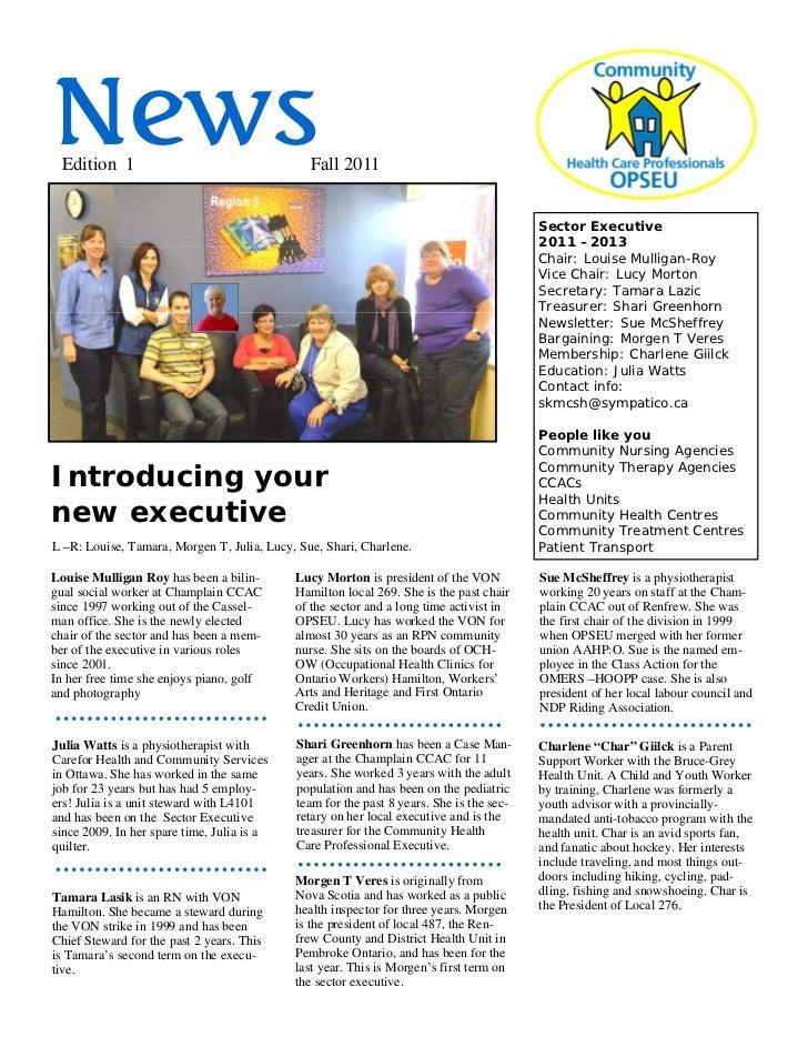 News Edition 1                                     Fall 2011                                                              ...