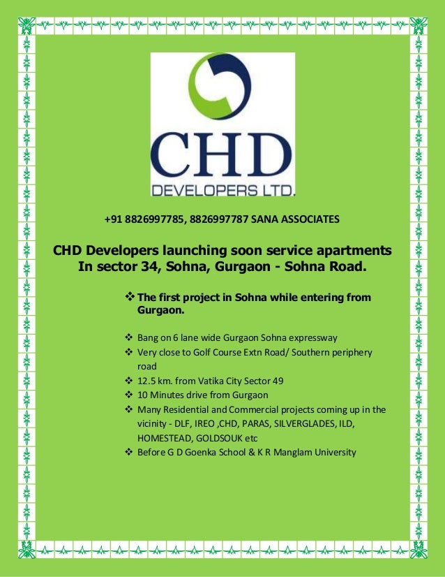 Chd developers launching soon service apartments in sector 34CHD DEVELOPER NEW PROJECT SOHNA SECTOR- 34