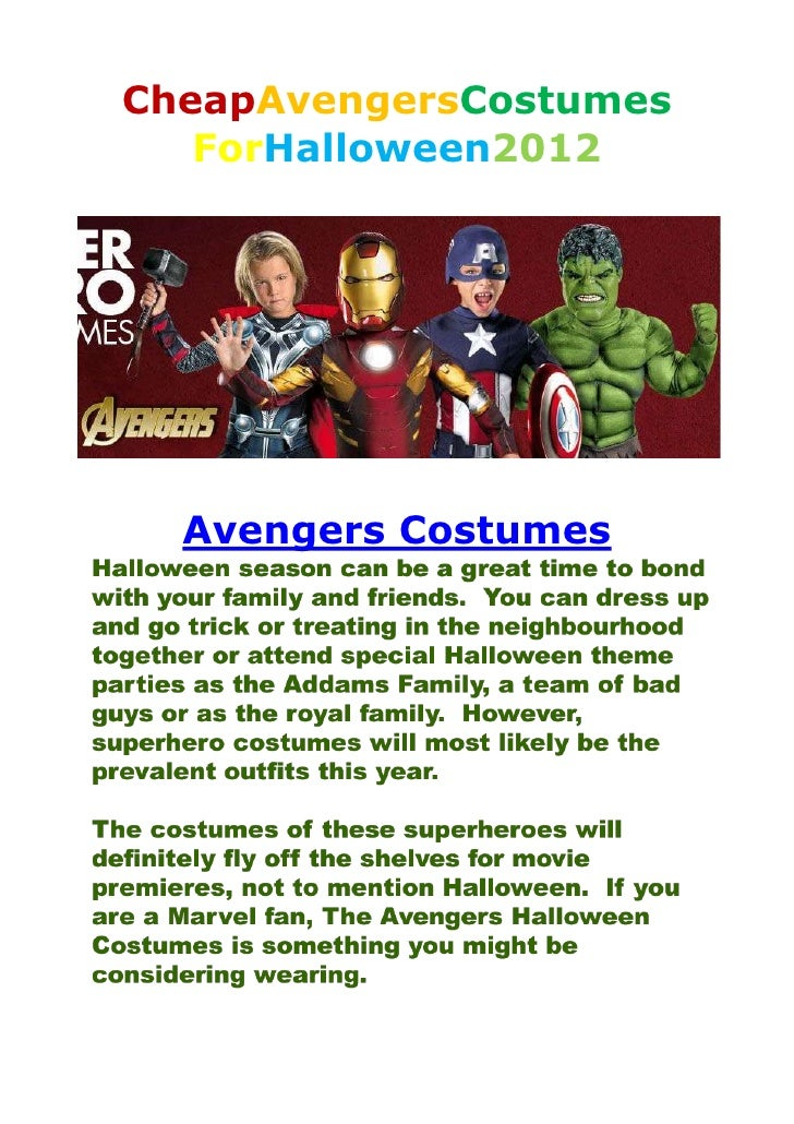CheapAvengersCostumes   ForHalloween2012  Avengers Costumes