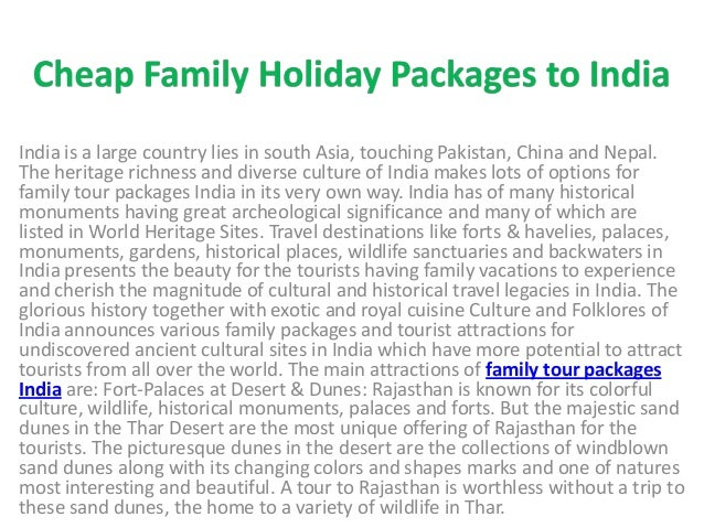 Cheap family holiday packages to india