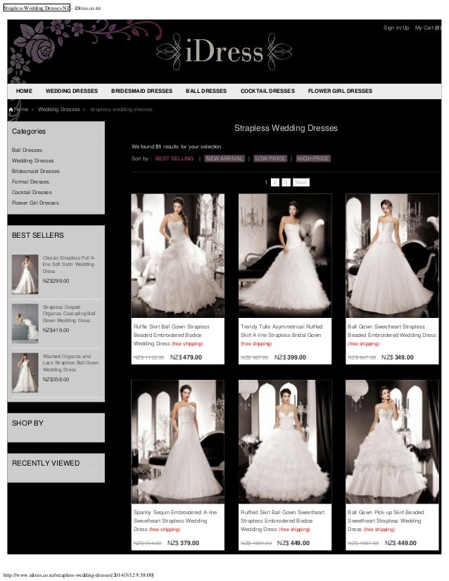 Cheap strapless wedding dresses nz for 2014 online shop at affordable price from idress.co.nz with free shipping