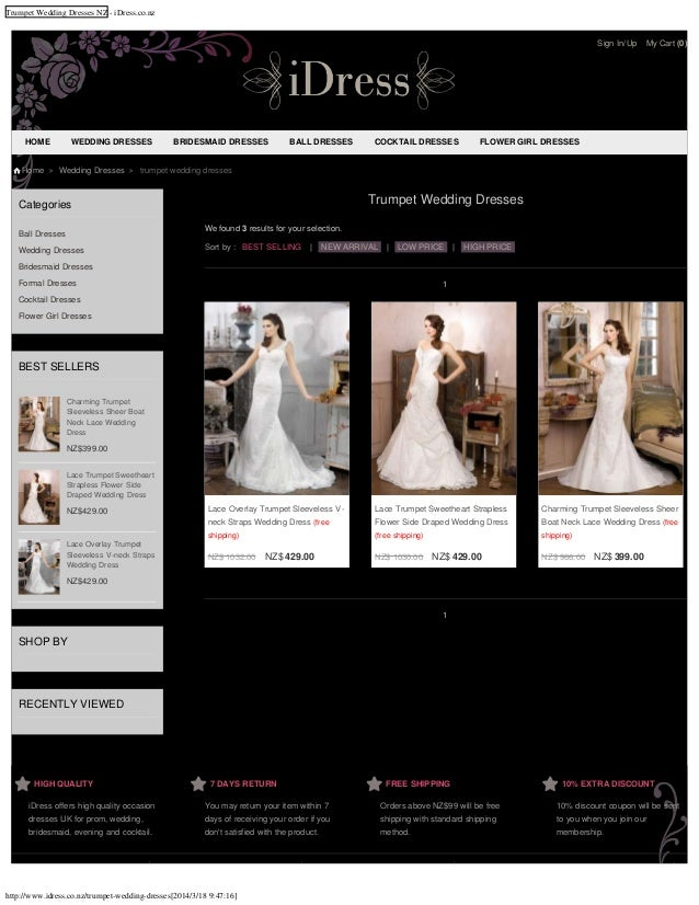 Cheap trumpet wedding dresses nz for 2014 online shop at affordable price from idress.co.nz with free shipping