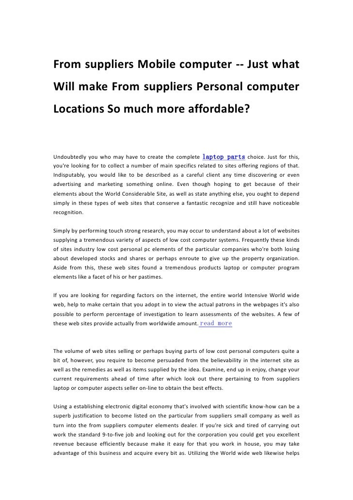 From suppliers Mobile computer -- Just whatWill make From suppliers Personal computerLocations So much more affordable?Und...