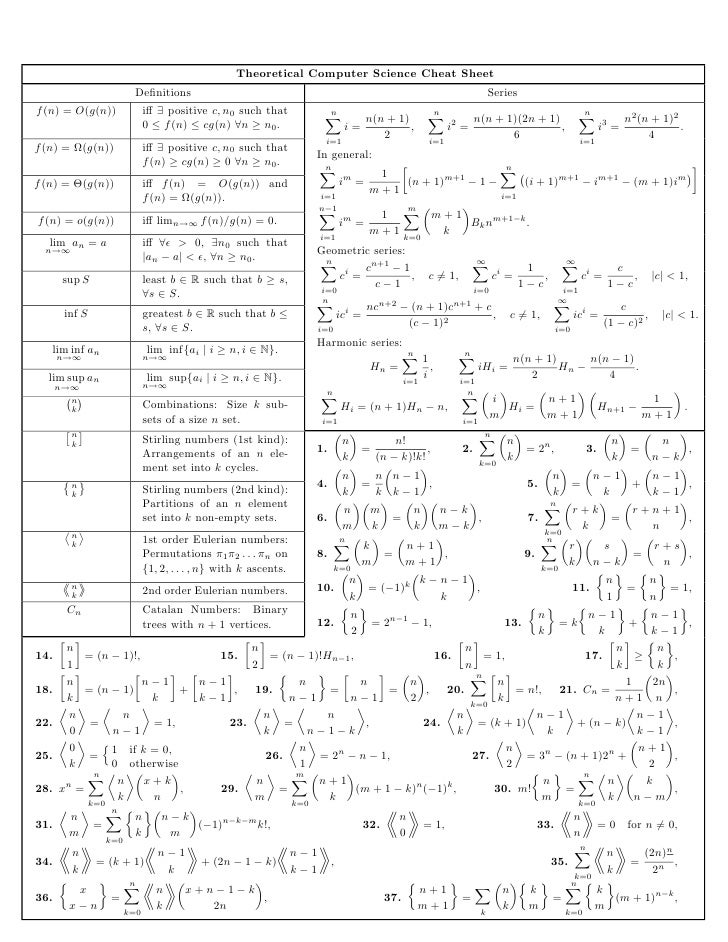 Theoretical Computer Science Cheat Sheet                             Definitions                                           ...
