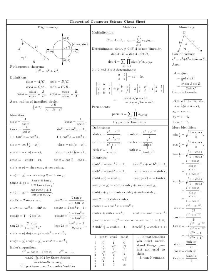 Trigonometry Formula Sheet | www.imgkid.com - 161.5KB