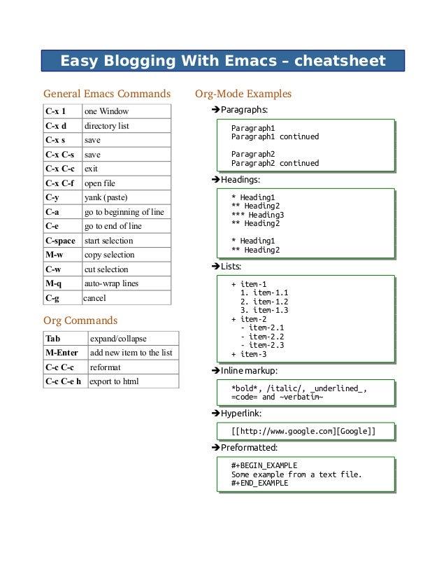 Easy Blogging With Emacs – cheatsheet GeneralEmacsCommands C-x 1 one Window C-x d directory list C-x s save C-x C-s save...