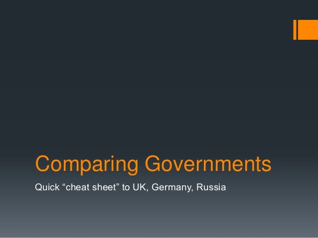 Cheat sheet comparing governments of uk germany russia