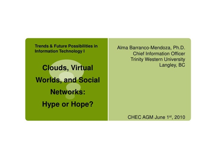 Clouds, Virtual Worlds, and Social Networks: Hype or Hope?
