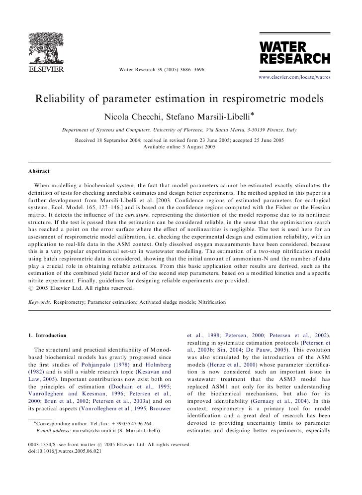 ARTICLE IN PRESS                                             Water Research 39 (2005) 3686–3696                           ...