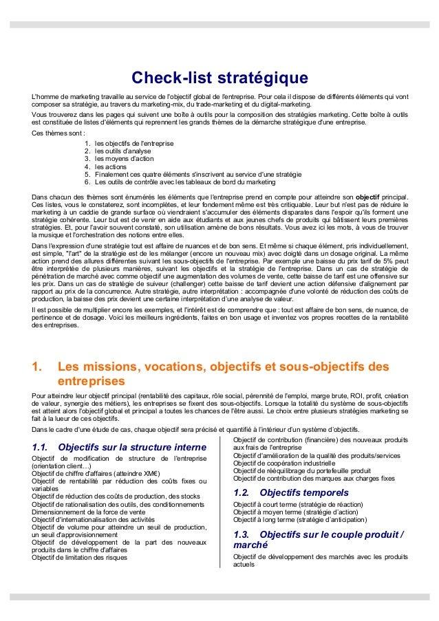 Check List Strat Gique De Kratiroff