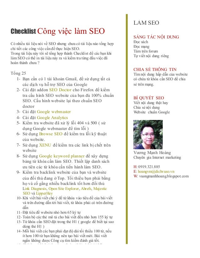 Check list-lam-seo