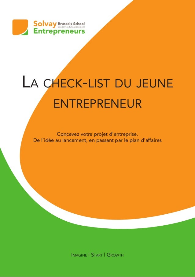 La checklist du jeune entrepreneurs par Solvay Entrepreneurs