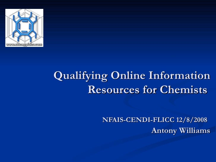 Qualifying Online Information Resources for Chemists