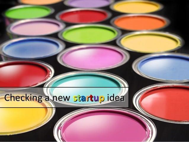Checking a startup idea