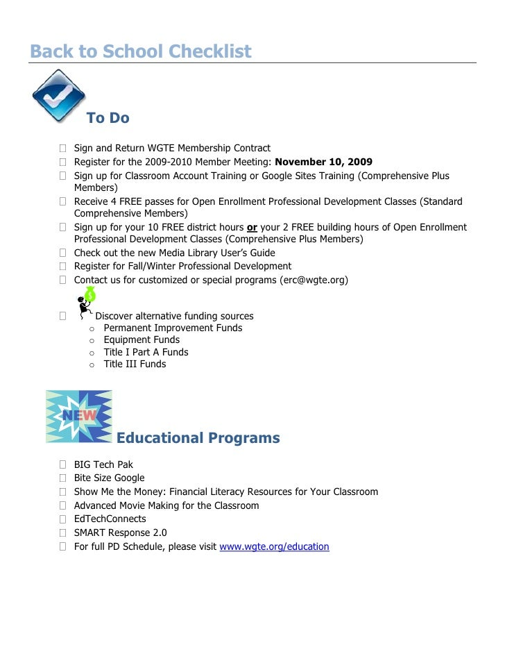 Back to School Checklist<br />To Do<br />Sign and Return WGTE Membership Contract<br />Register for the 2009-2010 Member M...