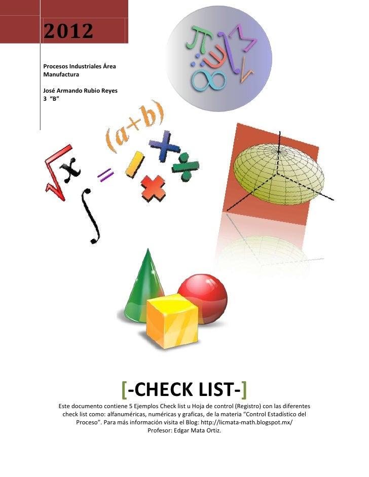 Ejemplos de Checklist (Hoja de Registro u Hoja de Control)