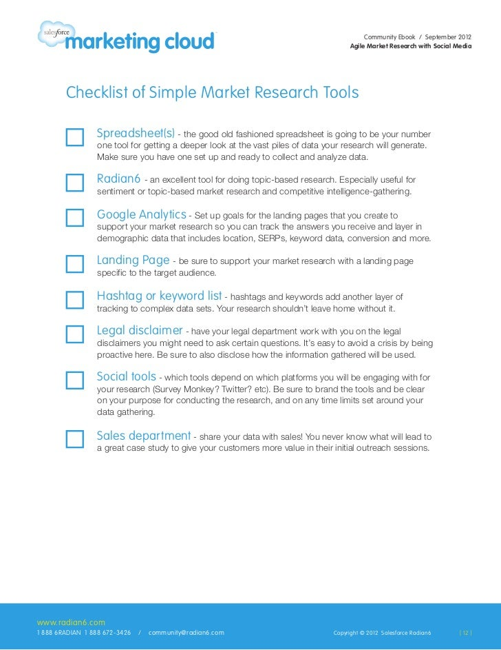 Checklist of Simple Market Research Tools