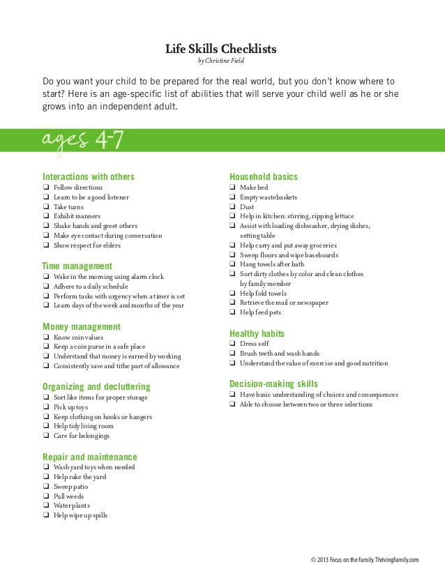 Life Skills Checklists by Christine Field  Do you want your child to be prepared for the real world, but you don't know wh...