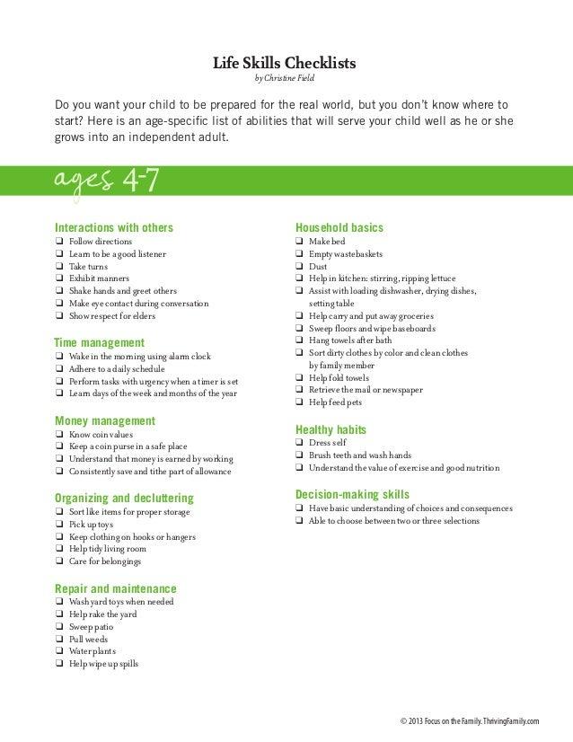 Checklist for life kills