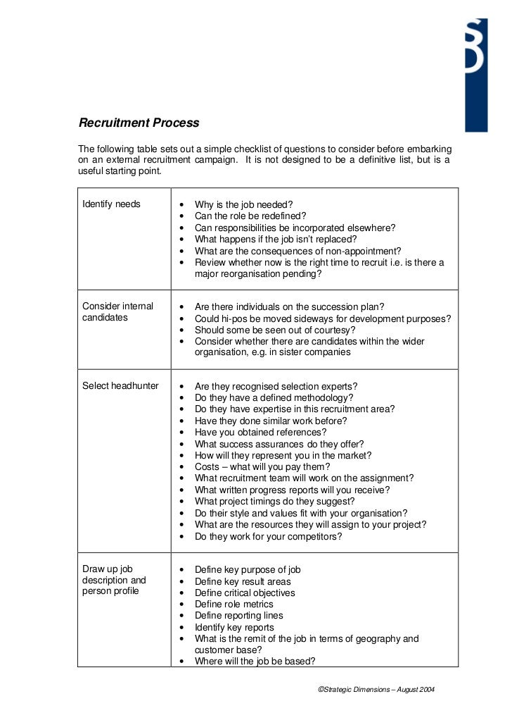 Recruitment ProcessThe following table sets out a simple checklist of questions to consider before embarkingon an external...