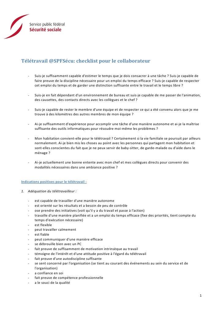 Télétravail @SPFSécu: checklist pour le collaborateur