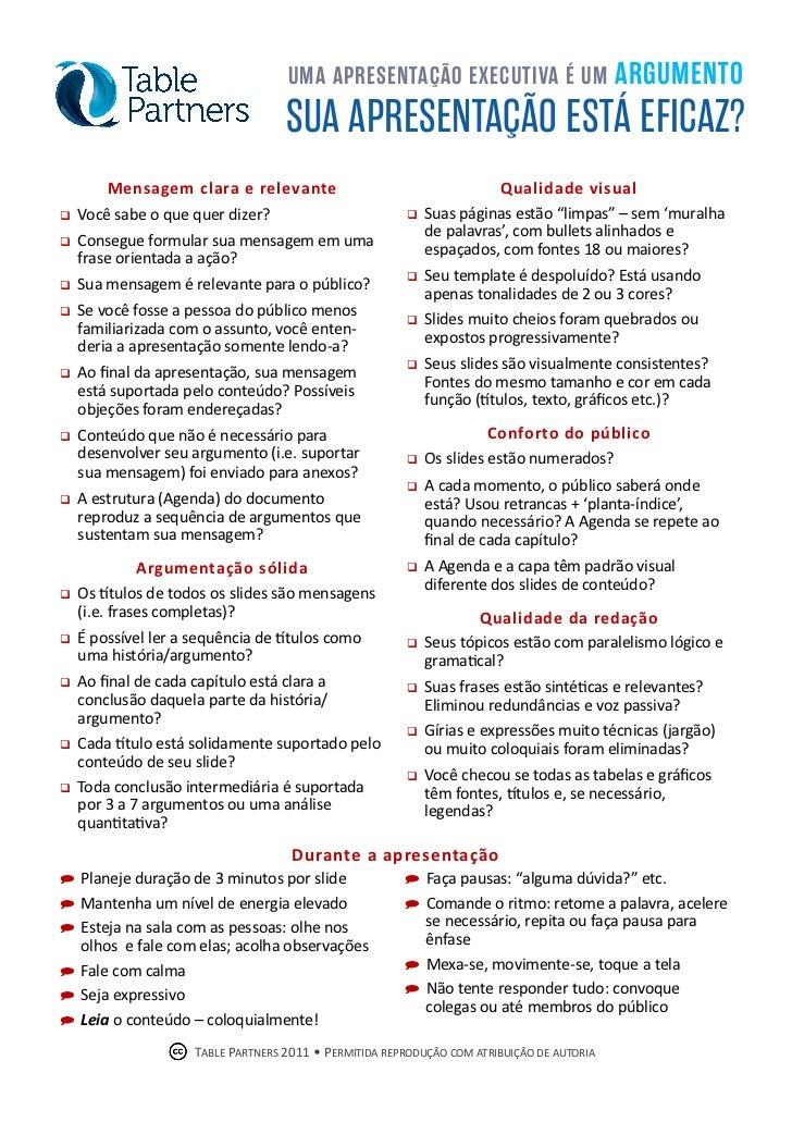 Checklist Apresentações