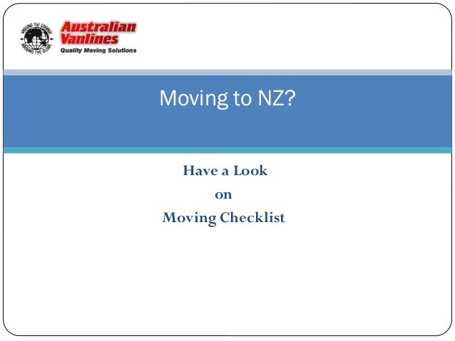 Moving to NZ? Have a Look on Moving Checklist