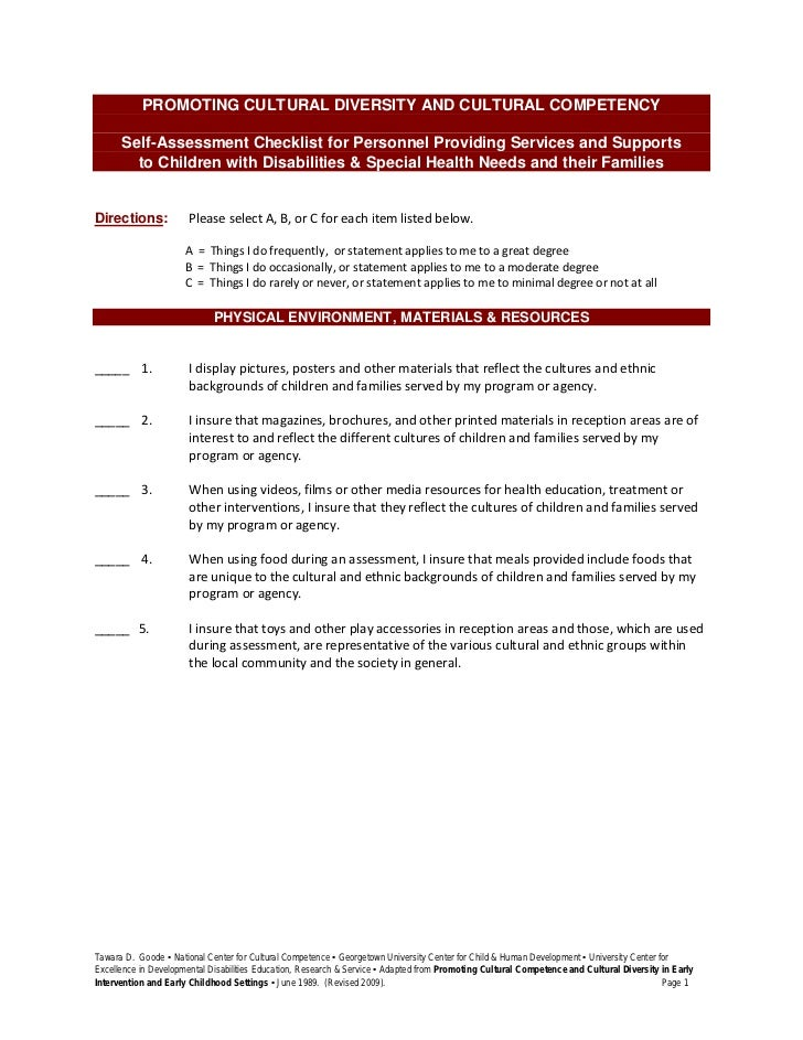 PROMOTING CULTURAL DIVERSITY AND CULTURAL COMPETENCY   Self-Assessment Checklist for Personnel Providing Services and Supp...