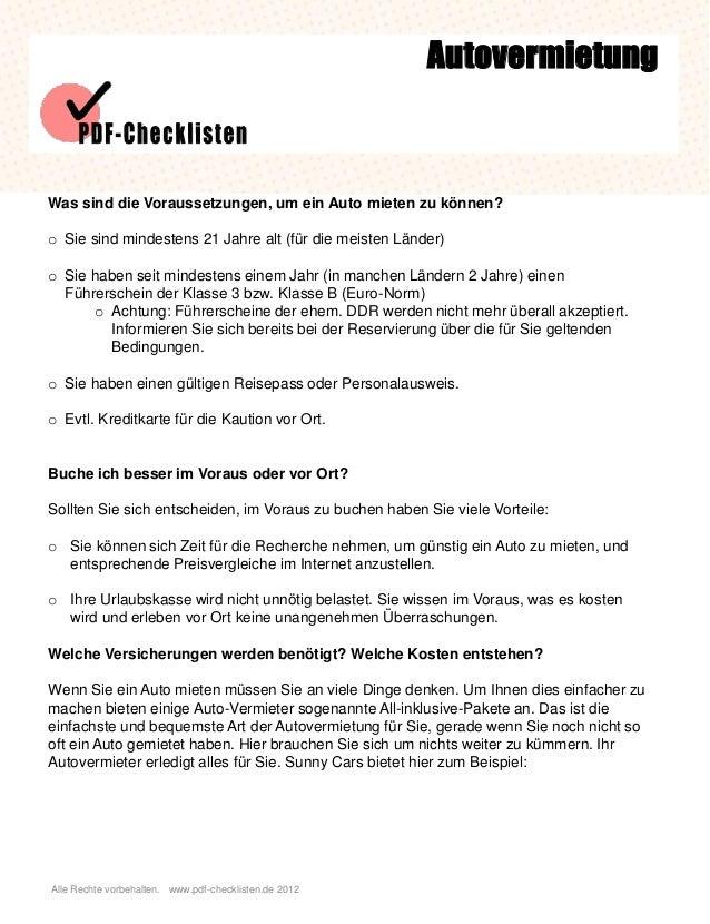Alle Rechte vorbehalten. www.pdf-checklisten.de 2012 Autovermietung Was sind die Voraussetzungen, um ein Auto mieten zu kö...