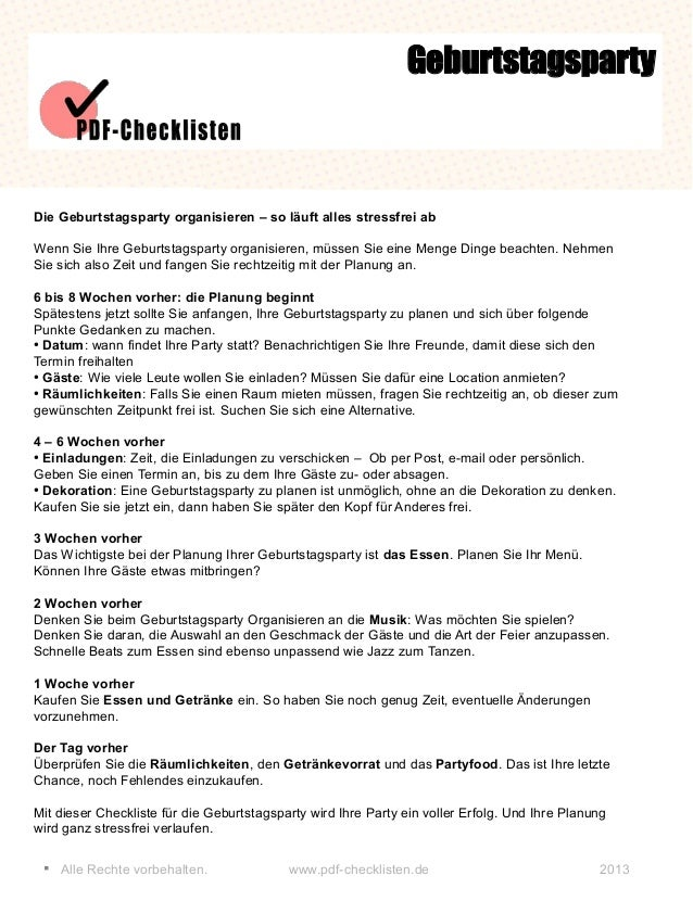 § Alle Rechte vorbehalten. www.pdf-checklisten.de 2013 Geburtstagsparty Die Geburtstagsparty organisieren – so läuft alles...