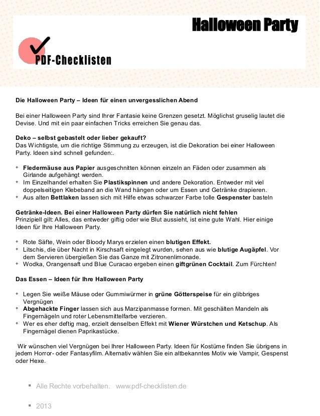 § Alle Rechte vorbehalten. www.pdf-checklisten.de § 2013 Halloween Party Die Halloween Party – Ideen für einen unvergessli...