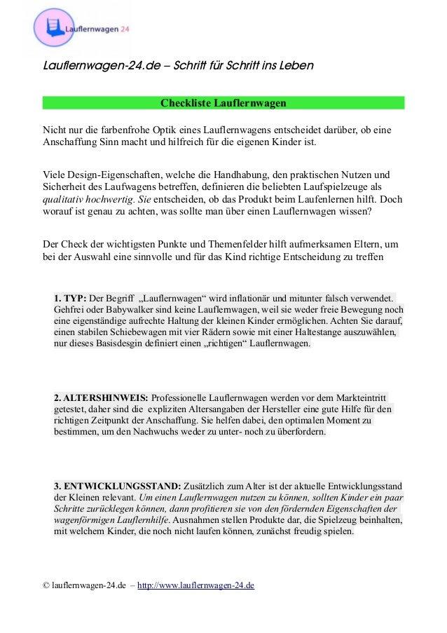 Lauflernwagen-24.de – Schritt für Schritt ins Leben Checkliste Lauflernwagen Nicht nur die farbenfrohe Optik eines Laufler...
